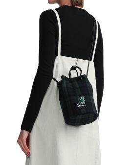 Check print crossbody bucket bag