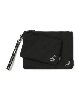 Embroidered logo double pouch