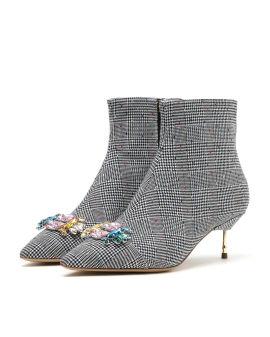 Bellevue houndstooth heeled boots
