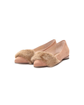 Faux fur-embellished pointed-toe flats