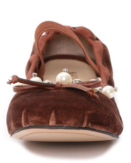 Pearl diamond embellished suede flats