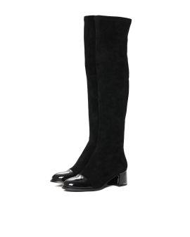 Patent cap toe boots