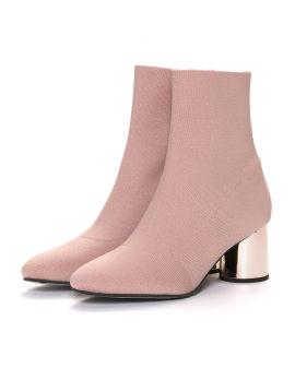 Metallic block heel bootie