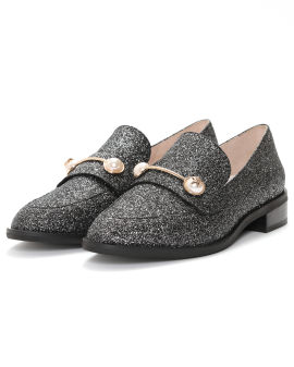Faux pearl-embellished glitter loafers