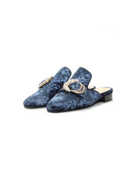 Crystal-embellished suede mulers