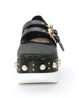 Faux pearl-embellished leather platform
