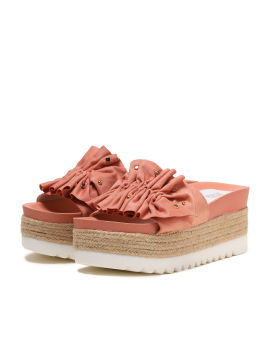 Jewelled ruffle platform sandals