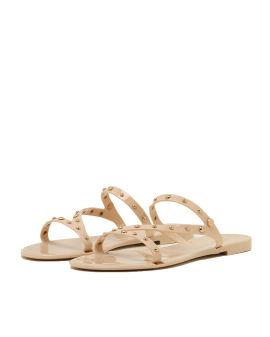 Stud embellished slippers