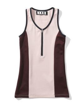 Front zip athletic tank top