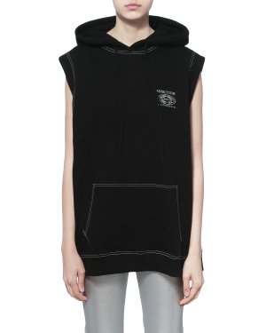 Contrast stitch sleeveless hoodie