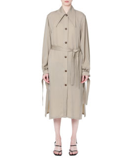 Self-tie taped trench coat