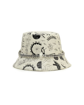Printed leather bucket hat