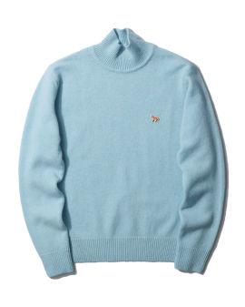 Fox patch turtleneck sweater