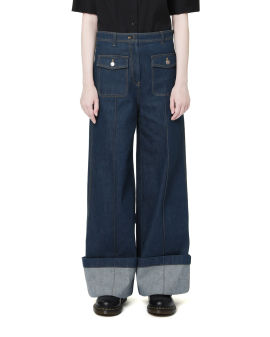 Loose fit cuffed jeans