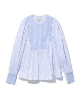 Pinstriped balloon sleeves top
