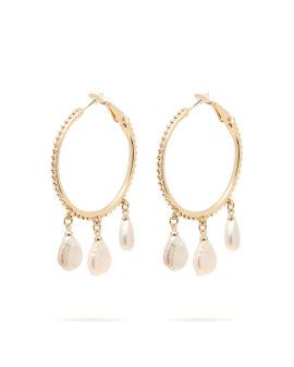 Hoop drop charm earrings