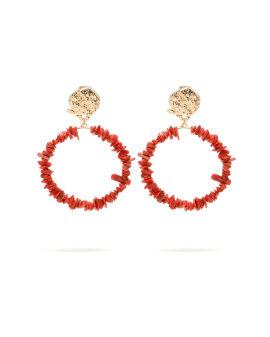 Chipping stone hoop earrings