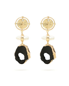 Coin and stone drop earrings