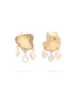 Textured pearl drop earrings