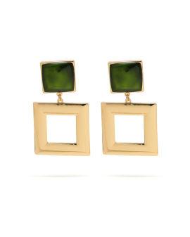 Square shaped drop earrings