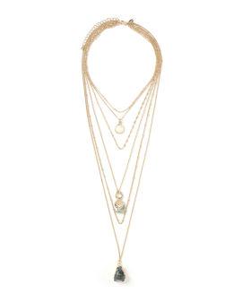 Stone multi row necklace