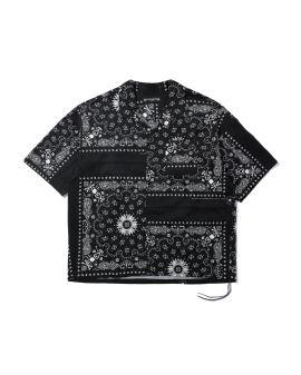 Panelled motif print shirt