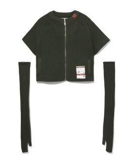 Detachable sleeves zipped cardigan