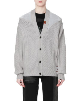 Panelled cable knit cardigan