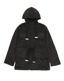 multi-pocketedlace-up hooded coat
