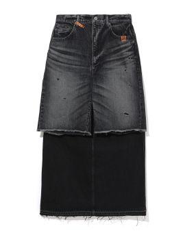 Combined denim skirt