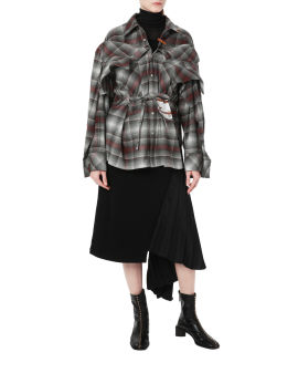 Layer cut off ombre plaid shirt