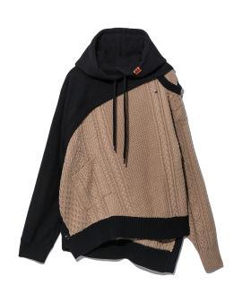 Knit panel hoodie
