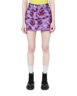 Pattern print denim skirt