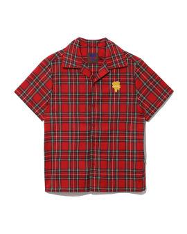 Logo patch plaid shirt