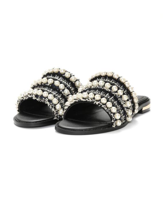 921ed5a98c40 MISS KG Rosalie faux pearl tweed slide sandals