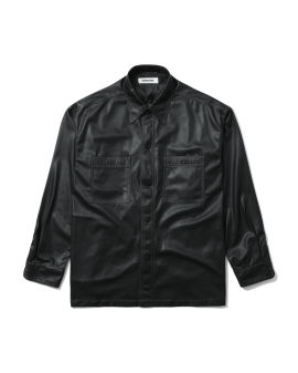 Leather button-up shirt