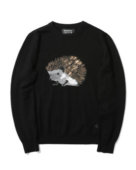 Mia beaded intarsia knit hedgehog sweater