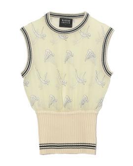 Divers print sheer silk sleeveless blouse