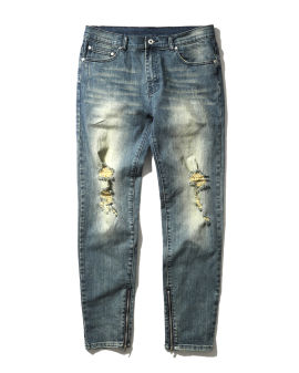 Jauned distressed ankle zip jeans