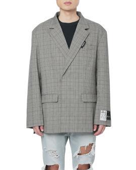 Belted plaid blazer
