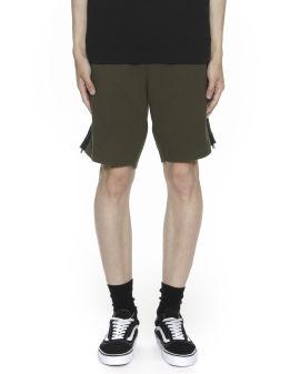 Side zip embellished drawstring shorts