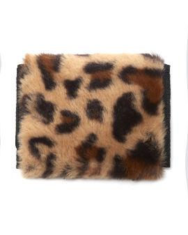 Faux fur leopard wallet