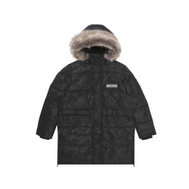 Hooded faux fur trimmed down jacket