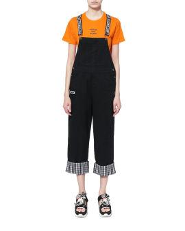 Check cuffs dungaree pants