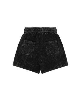 Washed logo print denim shorts