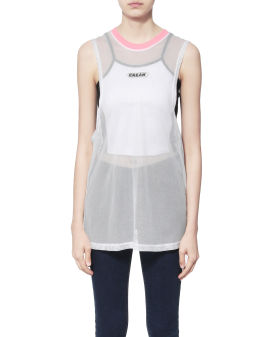 Logo mesh tank top and camisole set