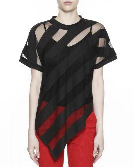 Mesh panel asymmetric hem blouse
