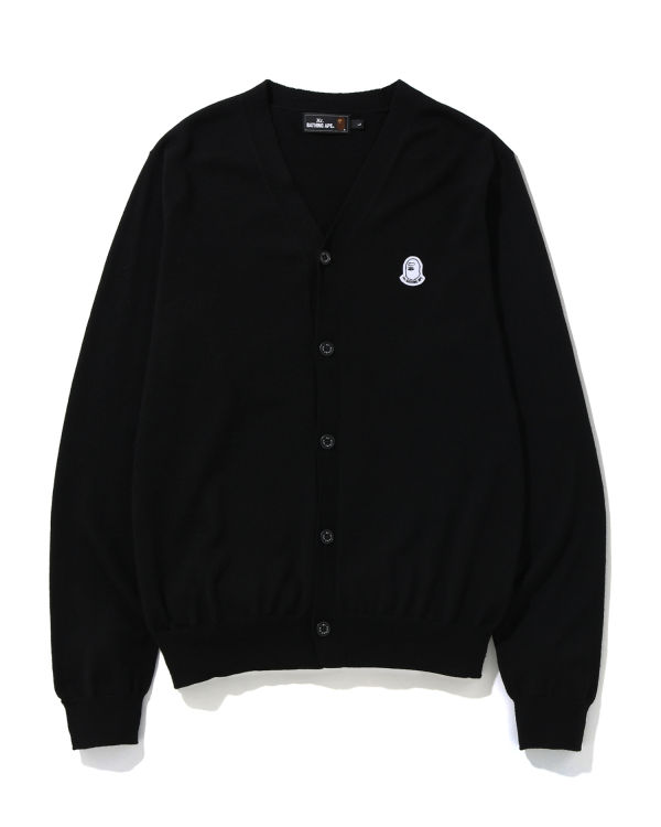 Logo patch knit cardigan