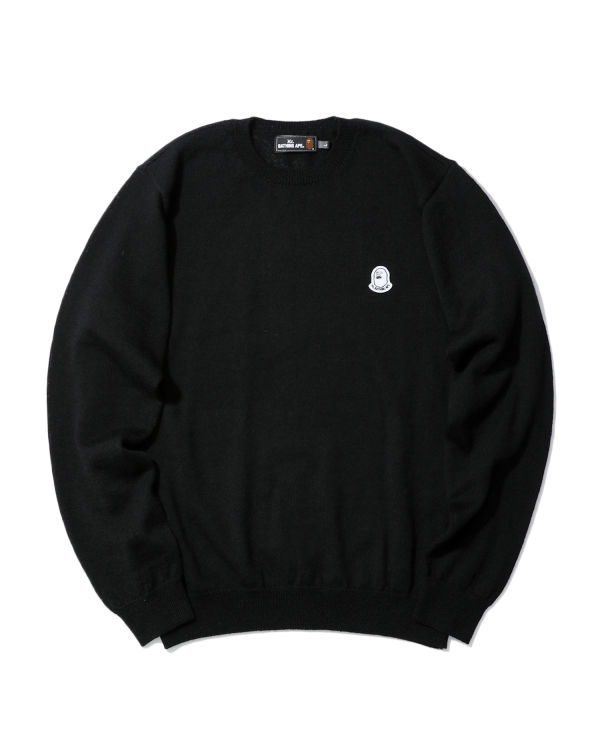 Logo patch knit sweater