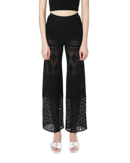 Embroidered crochet pants